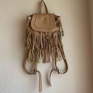 Carlos Santana   Tan Faux Leather Fringe Backpack